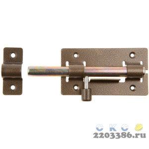 """Задвижка накладная """"ЗД-01"""" для дверей, корпус-порошковое покрыт/стержень-покрыт цинк, бронза, круг засов 14мм, 64х115мм"""