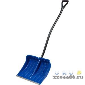 ЗУБР АРКТИКА лопата снеговая, пластиковая с алюминиевой планкой, эргономичный металлический черенок, V-ручка, 550 мм