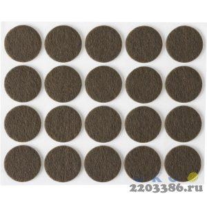 """Накладки STAYER """"COMFORT"""" на мебельные ножки, самоклеящиеся, фетровые, коричневые, круглые - диаметр 22 мм, 20 шт"""