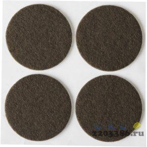 """Накладки STAYER """"COMFORT"""" на мебельные ножки, самоклеящиеся, фетровые, коричневые, круглые - диаметр 35 мм, 4 шт"""