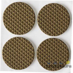 """Накладки STAYER """"COMFORT"""" на мебельные ножки, самоклеящиеся, ЭВА, коричневые, круглые - диаметр 35 мм, 4 шт"""