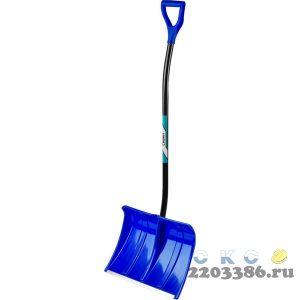 СИБИН ЛПА-500 лопата снеговая, пластиковая с алюминиевой планкой, эргономичный алюминиевый черенок, V-ручка, 500 мм.