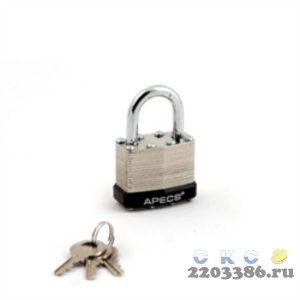 Замок навесной APECS PDS-65-40 Blister 40х64мм, d=6мм, автомат, 3 ключа (6)