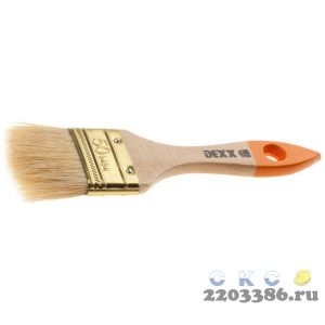 Кисть флейцевая DEXX, деревянная ручка, натуральная щетина, индивидуальная упаковка, 50мм