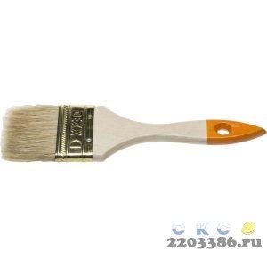 Кисть флейцевая DEXX, деревянная ручка, натуральная щетина, индивидуальная упаковка, 63мм