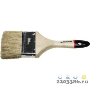"""Кисть плоская STAYER """"UNIVERSAL-EURO"""", светлая натуральная щетина, деревянная ручка,100мм"""