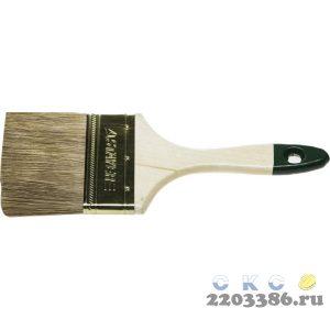 """Кисть плоская STAYER """"LASUR-STANDARD"""", смешанная (натуральная и искусственная) щетина, деревянная ручка, 63мм"""