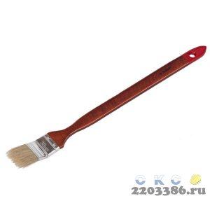 """Кисть радиаторная угловая ЗУБР """"УНИВЕРСАЛ-МАСТЕР"""", светлая натуральная щетина, деревянная ручка, 38мм"""