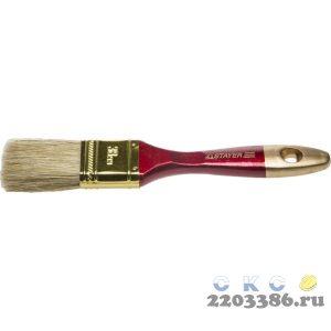 """Кисть плоская STAYER """"UNIVERSAL-PROFI"""", светлая натуральная щетина, деревянная ручка, 38мм"""