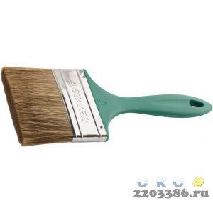"""Кисть плоская STAYER """"LASUR-EURO"""", смешанная (натуральная и искусственная) щетина, пластмассовая ручка, 100мм"""