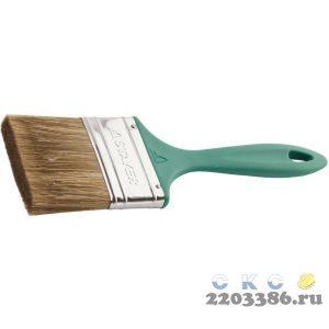 """Кисть плоская STAYER """"LASUR-EURO"""", смешанная (натуральная и искусственная) щетина, пластмассовая ручка, 75мм"""