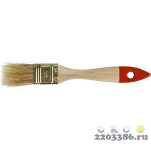 """Кисть плоская ЗУБР """"УНИВЕРСАЛ-ОПТИМА"""", светлая щетина, деревянная ручка, 25мм"""