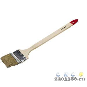 """Кисть радиаторная STAYER """"EURO"""", светлая натуральная щетина, деревянная ручка, 63мм"""