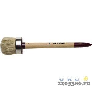 """Кисть круглая ЗУБР """"УНИВЕРСАЛ - МАСТЕР"""", светлая щетина, деревянная ручка, №14, 50мм"""