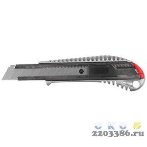 Металлический нож с автостопом ПРО-18А, сегмент. лезвия 18 мм, ЗУБР Профессионал