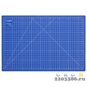 """Коврик ЗУБР """"ЭКСПЕРТ"""", непрорезаемый, 3мм, цвет синий, 450х300 мм"""
