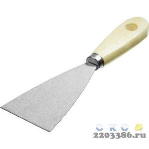 Шпатель стальной 60 мм, деревянная ручка, MIRAX