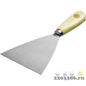 Шпатель стальной 100 мм, деревянная ручка, MIRAX