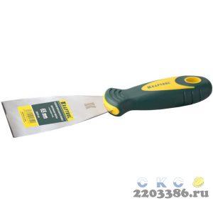 Шпательная лопатка KRAFTOOL с 2-компонент ручк, профилиров нержав полотно, 65мм