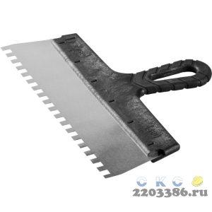 """Шпатель ЗУБР """"МАСТЕР"""" ФАСАДНЫЙ, нержавеющее полотно, 300мм, зуб 8х8мм"""