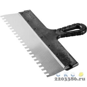 """Шпатель ЗУБР """"МАСТЕР"""" ФАСАДНЫЙ, нержавеющее полотно, 350мм, зуб 8х8мм"""