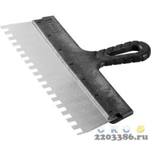 """Шпатель ЗУБР """"МАСТЕР"""" ФАСАДНЫЙ, нержавеющее полотно, 350мм, зуб 10х10мм"""