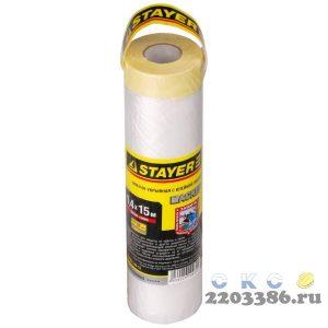 """Пленка STAYER """"PROFESSIONAL"""" защитная с клейкой лентой """"МАСКЕР"""", HDPE, 9мкм, 1,4х15м"""