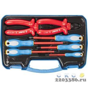 Набор: Губцевый инструмент, диэлектрический, высоковольтный до ~1000В, маслобензостойкая рукоятка, 7предм, ЗУБР Профессионал 2214-H7