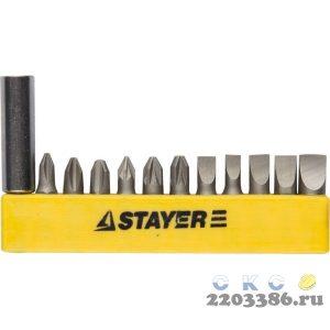 """Набор STAYER Биты """"MASTER"""" с магнитным держателем,12 предметов"""