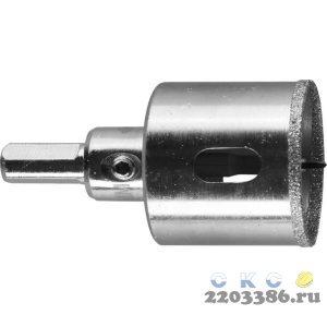 Коронка алмазная по кафелю и стеклу, d=32 мм, зерно Р 60, в сборе с центрирующим сверлом и имбусовым ключом, ЗУБР Профессионал 29850-32