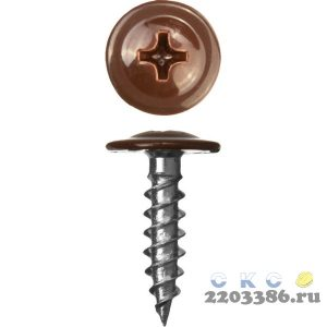 Саморезы ПШМ для листового металла, 16 х 4.2 мм, 500 шт, RAL-8017 шоколадно-коричневый, ЗУБР