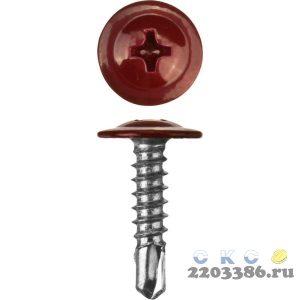 Саморезы ПШМ-С со сверлом для листового металла, 19 х 4.2 мм, 450 шт, RAL-3005 темно-красный, ЗУБР