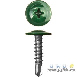 Саморезы ПШМ-С со сверлом для листового металла, 25 х 4.2 мм, 400 шт, RAL-6005 зеленый насыщенный, ЗУБР