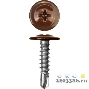 Саморезы ПШМ-С со сверлом для листового металла, 19 х 4.2 мм, 450 шт, RAL-8017 шоколадно-коричневый, ЗУБР