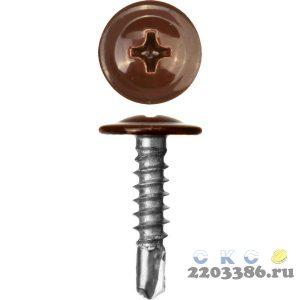 Саморезы ПШМ-С со сверлом для листового металла, 16 х 4.2 мм, 500 шт, RAL-8017 шоколадно-коричневый, ЗУБР