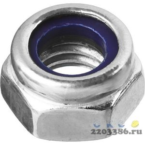 Гайка DIN 985 с нейлоновым кольцом, M10, 4 шт, кл. пр. 6, оцинкованная, ЗУБР
