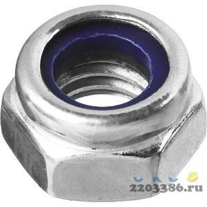 Гайка DIN 985 с нейлоновым кольцом, M12, 5 кг, кл. пр. 6, оцинкованная, ЗУБР