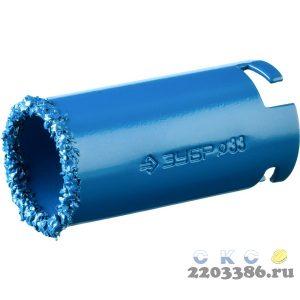 """Кольцевая коронка ЗУБР """"ПРОФЕССИОНАЛ"""" c карбид-вольфрамовым нанесением, 33 мм, высота 55 мм"""