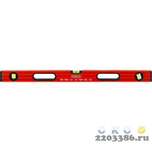 Уровень коробчатый усиленный MIRAX, фрезерованная поверхность, утолщенный профиль, 3 противоударных ампулы (1 поворотная на 360 град), с ручками, 80 с