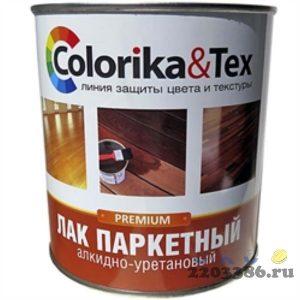 Лак паркетный 0,8 л полуматовый Colorika&Tex, 6шт/уп