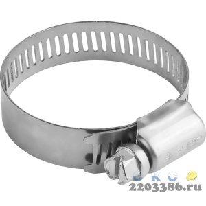 Хомуты, нерж. сталь, просечная лента 12.7 мм, 29-47 мм, 4 шт, ЗУБР Профессионал
