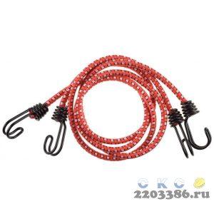 """Шнур STAYER """"PROFESSIONAL"""" резиновый крепежный, двойной стальной крюк, усилен. резина, 120 см, d 8 мм, 2 шт"""