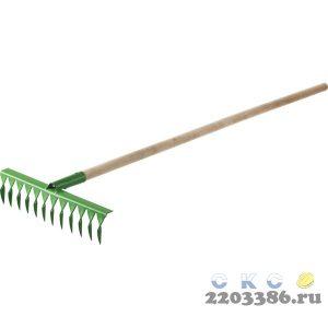 РОСТОК 14 витых зубьев, 430x100x1500 мм, грабли садовые, с деревянным черенком