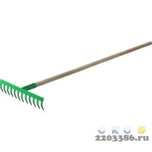 РОСТОК 12 прямых зубьев, 310x80x1300 мм, грабли садовые, с деревянным черенком