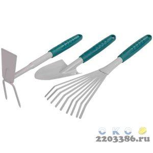 Набор RACO садовый: совок 4207-53481, мотыжка -53486, грабли веерные -53492