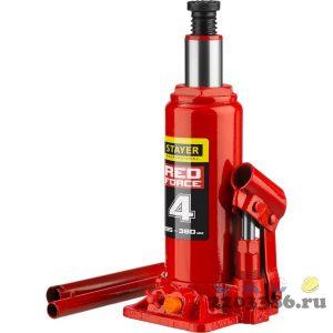 STAYER RED FORCE 4т 194-372мм домкрат бутылочный гидравлический
