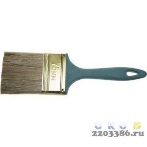 """Кисть ЗУБР """"КП-14"""" плоская, смешанная щетина, пластмассовая рукоятка, 75мм"""