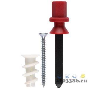 """Дюбель нейлоновый, тип """"Дрива"""", для гипсокартона в комплекте с установочной насадкой для дрели, с оцинкованным саморезом, 23 мм, 8 шт, ЗУБР"""