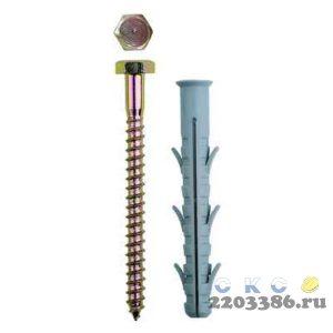 Дюбель рамный нейлоновый, в комплекте с оцинкованным шурупом, шестигранная головка, 10 x 160 мм, 50 шт, ЗУБР Профессионал