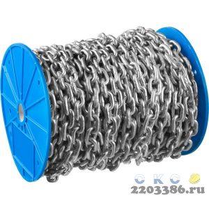 Цепь короткозвенная, DIN 766, оцинкованная сталь, d=2мм, L=200м, ЗУБР Профессионал